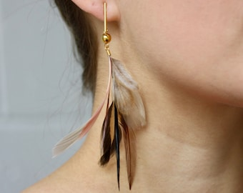 NEW Feather Earrings. Gold Bar Stud Blush Pink and Cream Natural Feather Earrings. Long Dangle Feather Earrings. Spring Fashion