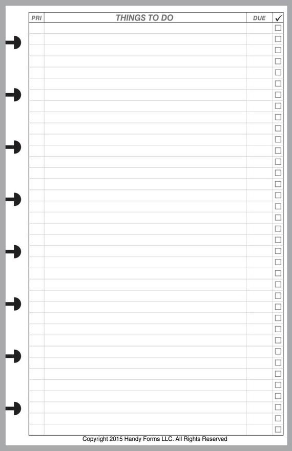 To Do List For Levenger Circa Junior Or Letter Size Staples
