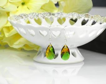 Swarovski Crystal Teardrop Earrings - Fern Green