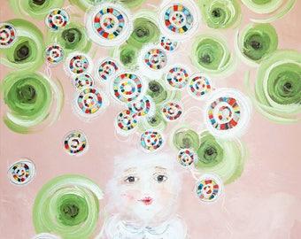 Gather Ye Rosebuds--Original Art--Statement--Acrylics--Upcycled--Inspiration--Painting--Contemporary--Modern--Eco-Friendly--Nursery--Girl