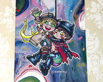 Made In Abyss Print, Riko And Reg Print, Anime Art, Made In Abyss, Kawaii Art Print, Chibi Art Print