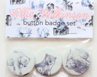 Set of 3 Illustrated Polar Bear Handmade Button Badges