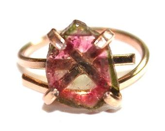 Rose Gold Watermelon Tourmaline Ring Rose Gold Vermeil Ring Adjustable Watermelon Tourmaline Slice Tourmaline Jewelry Pink Ring Rose Ring