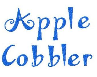 Buy 2, Get 1 Free, Apple Cobbler Embroidery Font, Instant Download, PES format