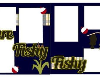 "Scrapbook 2 Page Layout ""Here Fishy Fishy"""