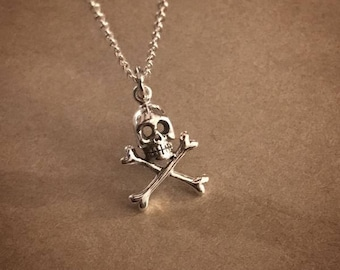 Skull and Cross Bones Necklace - Sterling Silver