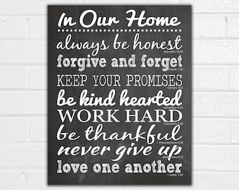 In Our Home Print - House Rules Sign - Family Rules Wall Art - In This House We Do Real - Housewarming Gift - Moving Gift