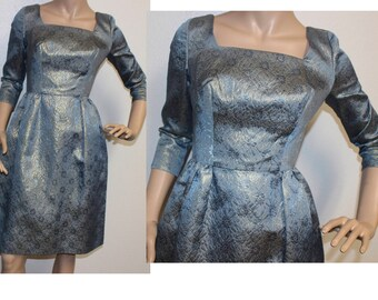 Vintage 1960s blue gold brocade wiggle party dress XS/small 218