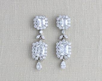 Crystal Bridal earrings, Rose Gold earrings, Wedding jewelry, Swarovski earrings, Wedding earrings, Bridesmaids earrings Long earrings CHLOE
