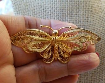 Vintage Victorian Silver butterfly brooch, Butterfly Brooch, Victorian Brooch, Butterfly