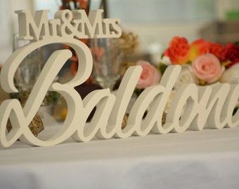 Mr and Mrs LAST NAME, Wedding, Wedding Sign, Mr & Mrs Last Name Table Sign, Wedding Decor
