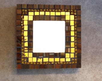 stained Glass Mosaic Brown and Gold Mirror