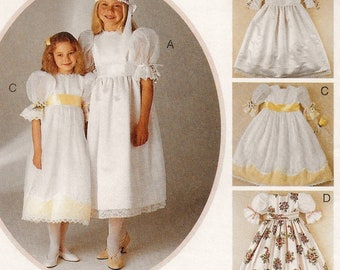 "A High Waist, Lace-Trim, Short Sleeve, Back Button, Full Skirt Dress & Headband Pattern for Girls: Uncut - Size 7 Breast 26"" ~ McCall's 7604"