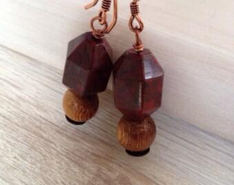 Red Jasper Earrings Handmade Jewelry Rustic Paper Lantern Poppy Jasper Wood Copper Jewelry San Diego California