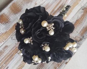 Brides / Wedding Toss Bouquet / Throw Away Bouquet - Black Roses