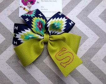 Navaho print Monogrammed Hair Bow-Tribal print Hair Bow-Monogrammed Hair Bow-Navaho-Lime Hair Bow