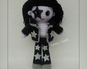 Paul Stanley KISS band Crochet Doll Portrait Doll the Starchild Crochet Rock musician voodoo doll Will be made JUST for YOU