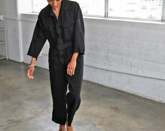 Black Cotton Coveralls