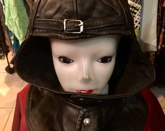1960' leather biker or pilots helmet, cap for men. Size 59 (XL).