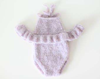 Newborn props - Newborn romper - Baby girl romper - Short sleeve romper - Photo Prop Outfit - Photo prop romper - Lavender - Newborn girl