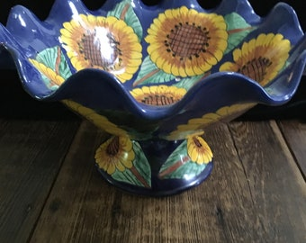 Handpainted Sunflowered Fluted Fruit Bowl
