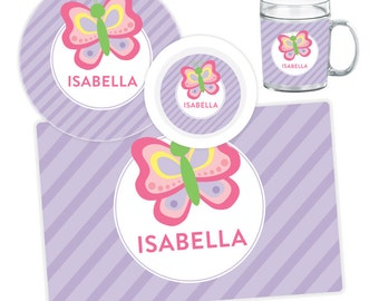 Personalized Butterfly Plate, Bowl, Mug or Placemat - Butterfly Dinnerware Set - Personalized Melamine Plate for Kids - Children Plate