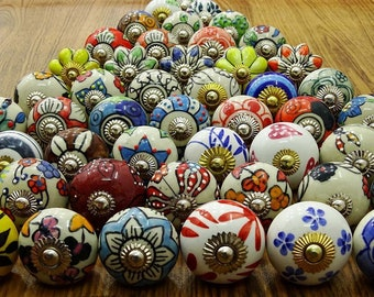 100 Assorted Random Mix round and pumpkin Design Multicoloured Ceramic Door / Draw Knobs Pulls. Hand Made and painted in India.