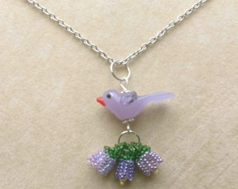 Made to Order Beadwoven Bird& Flowers Pendant, Glass Lampwork Bird, Floral Necklace, Silver Plated Fine Chain- Sweet Tweet by enchantedbeads