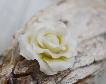 Cold porcelain flower, white rose, sculpted, hand-made, unique piece