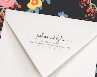 Return Address Stamp, Address Stamp, Script Style Stamp, Swashes, Personalized Address Stamp, Gift For Newlywed (403)