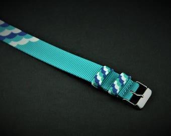 Cloud 9 Print Slip Thru Nylon Watch strap - 18mm Timex Weekender Seiko Band