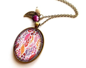 Necklace * feathers multicolored leaves * patterns forest tropical, pink, orange, white and bronze
