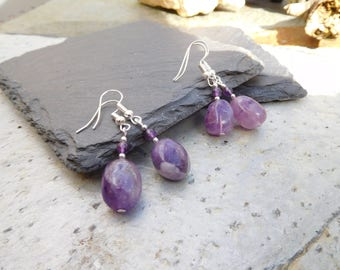 Amethyst drop earrings, rounded stone with smaller bead accents