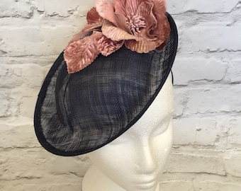 Navy fascinator with pink flowers, wedding, kentucky derby, royal ascot