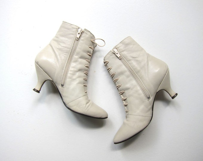 80s White Leather Booties