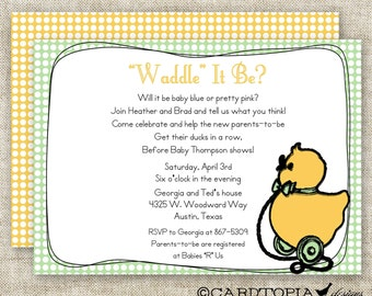Duck Baby Shower GENDER REVEAL PARTY Baby Shower Invitations Vintage Duck Toy Digital diy Printable Personalized - 94266944