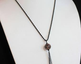 Rhodonite Bead Pendant Necklace