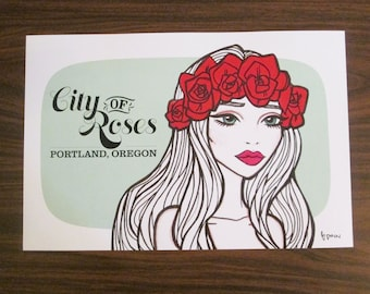 City of Roses - Portland rose princess- Illustration by Brenda Dunn from Portland, OR