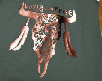 Steer Head wild copper army green swirl cowgirl southern country-soft-comfy-cowgirl-cowboy-southern-country-graphic Tee-
