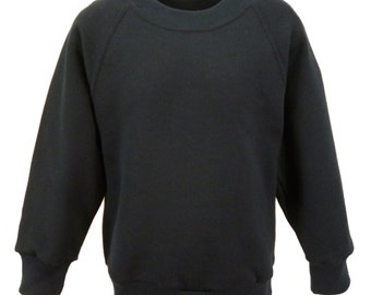 Black Sweatshirt, cotton/polyester, raglan sleeves, soft brushed inside for warmth and comfort.   Made in England.  6 childs sizes. W10