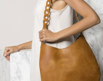 Shoulder Leather bag, Tan Cross-Body leather Bag, Brown leather bag,Minimalist Rounded tote bag, Women leather bag, Kyveli design NEW