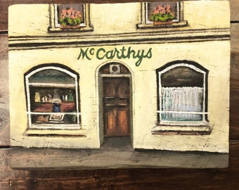 McCarthy's Fethard, co. Tipperary, Ireland. Irish pub painting in oil on 100 year old reclaimed Kentucky barn wood