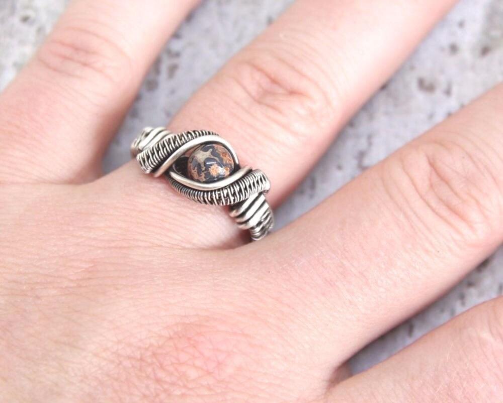 Leopard Skin Jasper Ring Heady Wire Wrapped Jewelry Sterling