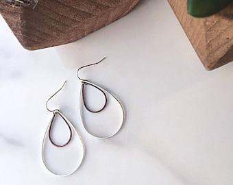 Teardrop Copper Earrings, Mixed Metal Drop Earrings, Dangle Earrings, Sterling Silver Earrings, Copper and Silver Drop Earrings