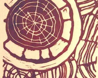 Red Paths or Black Paths - Linocuts