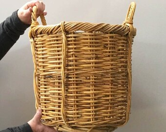 Woven Tree Planter / Willow Basket  / Large Indoor Planter / Large Vintage Basket / Toy Basket / Boho Planter / Magazine Basket