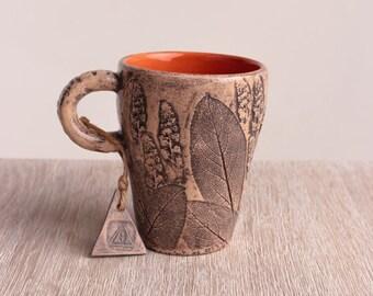 Foliage coffee mug, ceramic pottery, stoneware, drinkware, modern, foliage mug, coffee mug, modern ceramic mug, ceramic cup, teacup, tea cup