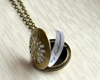 Bridesmaid Locket necklace Bridesmaids jewelry Filigree Weddings jewelry Bridesmaids gifts Bridesmaids necklace Vintage locket necklace