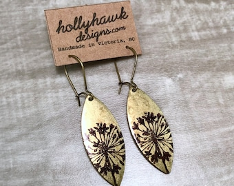 Antique Brass Earrings with Hand Printed Dandie Oblong * SALE * Coupon Codes