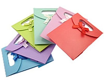 """5 PC Mix color Bow  Paper Gift Bags Carrier Party Wedding 6.5x5""""-Q304"""